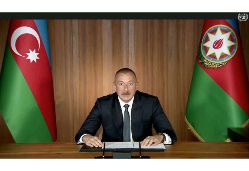Президент Ильхам Алиев выступил в общих дебатах в видеоформате 75-й сессии Генеральной Ассамблеи ООН