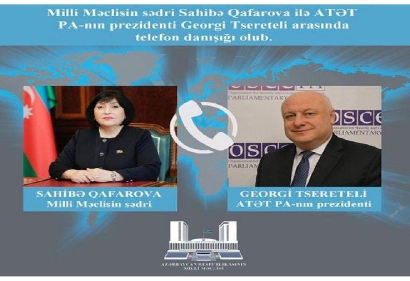 Сахиба Гафарова обсудила ситуацию в Нагорном Карабахе с президентом ПА ОБСЕ