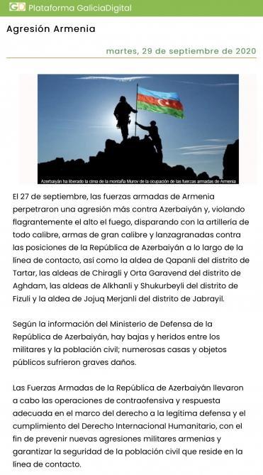 Влиятельное испанское издание осудило военную провокацию Армении против Азербайджана