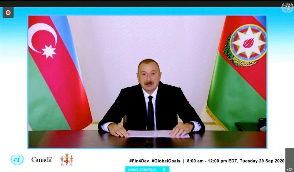 Президент Ильхам Алиев выступил в видеоформате на заседании глав государств и правительств на тему «Финансирование Повестки дня в области Целей устойчивого развития на период до 2030 года во время COVID-19 и в последующий период»