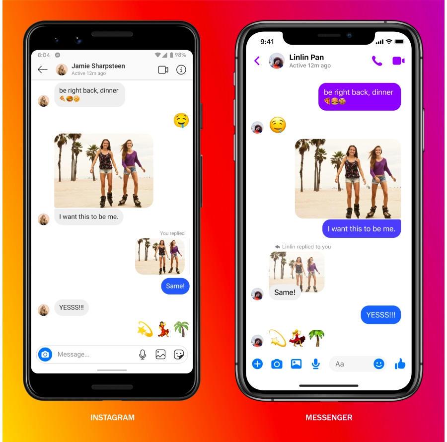 Facebook объединил чаты Messenger и Instagram