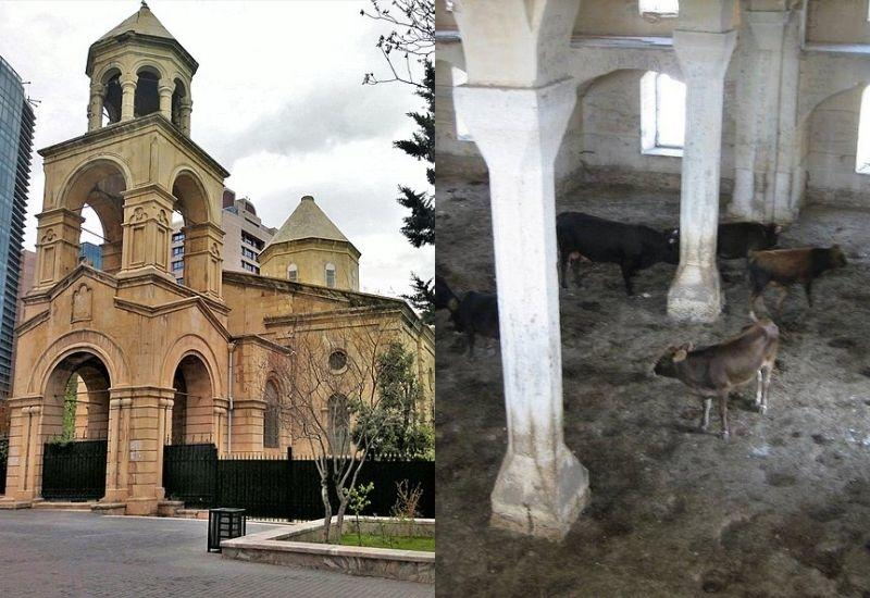 Армянская церковь в Баку и азербайджанские мечети в Карабахе