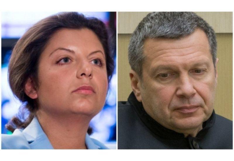 В интернете издеваются над Маргаритой Симоньян и Владимиром Соловьёвым