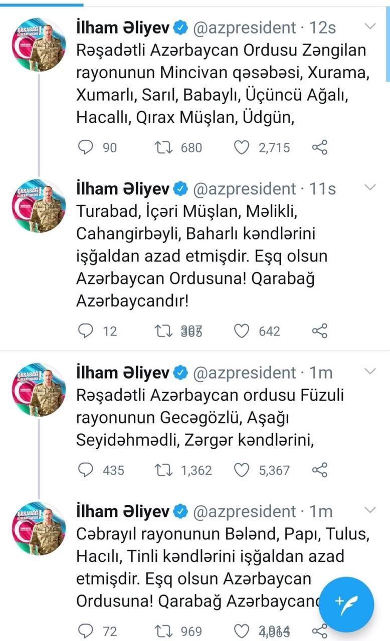 Президент Ильхам Алиев: Азербайджанская армия освободила от оккупации еще 22 населенных пункта