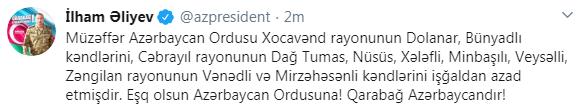 Президент Ильхам Алиев: Азербайджанская армия освободила от оккупации ряд сел в Губадлинском, Ходжавендском, Джебраильском и Зангиланском районах