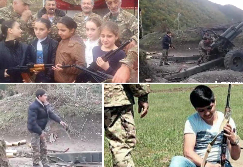 Армяне массово раздают детям оружие в Карабахе