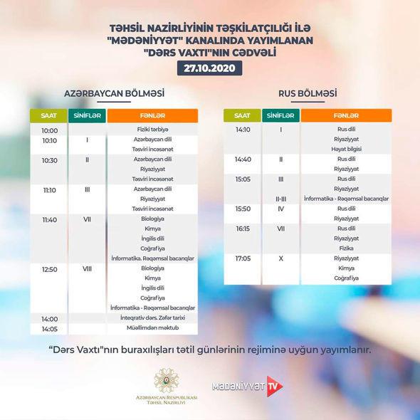 Расписание телеуроков на 27 октября
