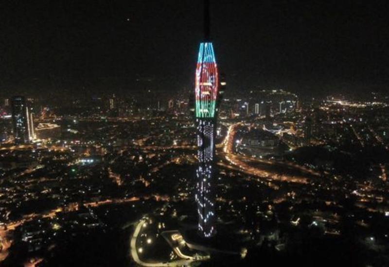 Телебашня Стамбула окрасилась в цвета азербайджанского флага