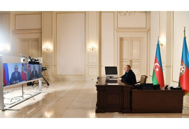 Президент Азербайджана Ильхам Алиев провел встречу с Владимиром Путиным в формате видеоконференции