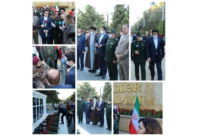 Посол Ирана и сотрудники посольства посетили Аллею шехидов в Баку