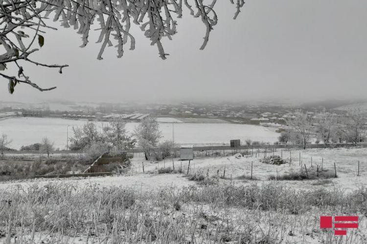 В Шамахы выпал снег, на дорогах ожидается гололедица