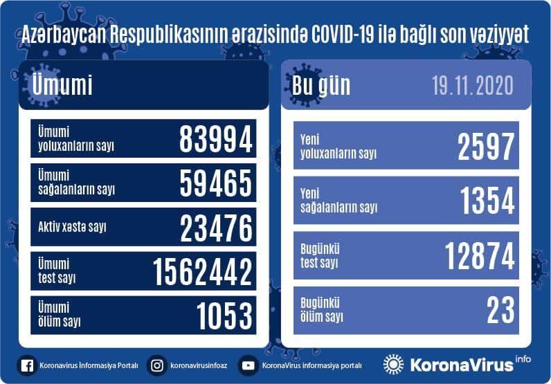 В Азербайджане выявлено еще 2597 случаев заражения коронавирусом,
