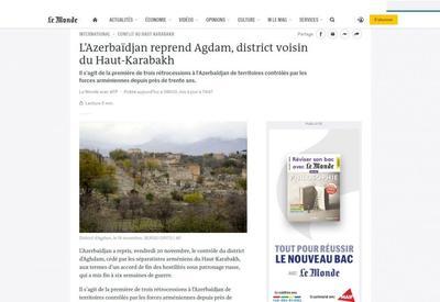 Агдамский район Азербайджана освобожден от армянской оккупации  - Французская Le Monde