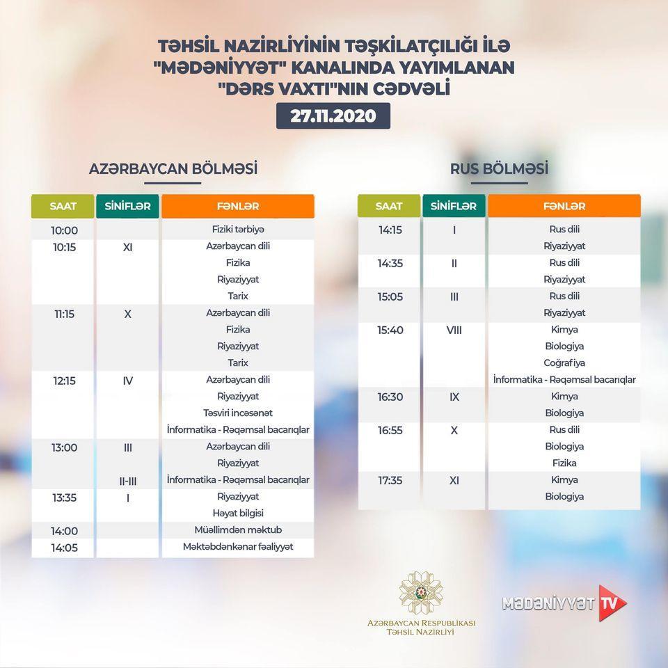 Расписание телеуроков на 27 ноября