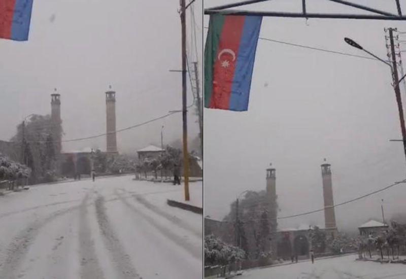 В Шуше выпал снег