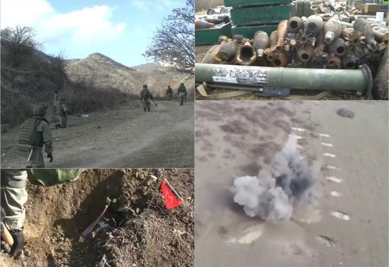 Российские военные уничтожили еще 100 взрывоопасных предметов в Карабахе
