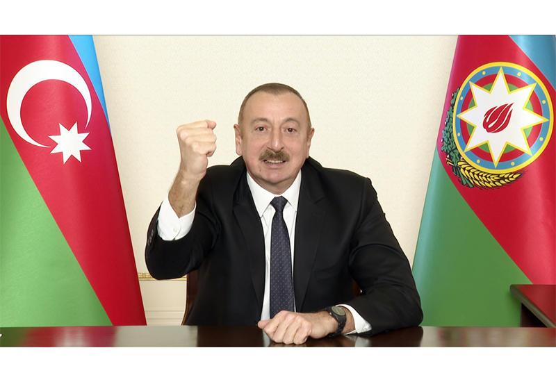 Президент Ильхам Алиев поздравил азербайджанский народ с освобождением Лачина
