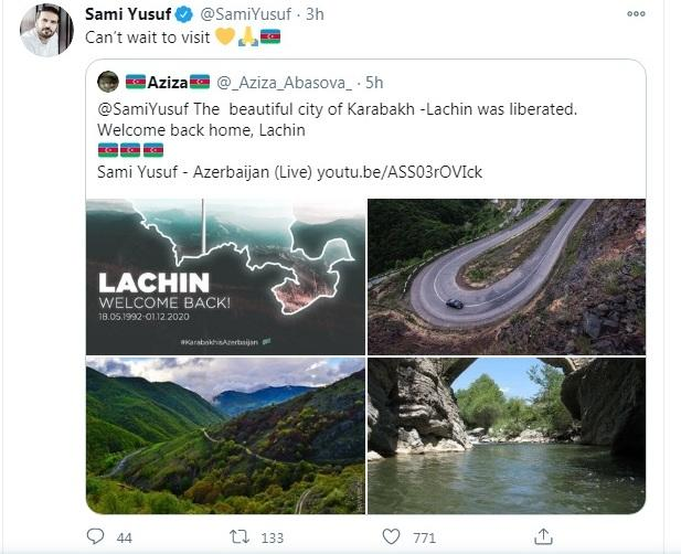 Сами Юсуф поделился публикацией по случаю освобождения Лачина