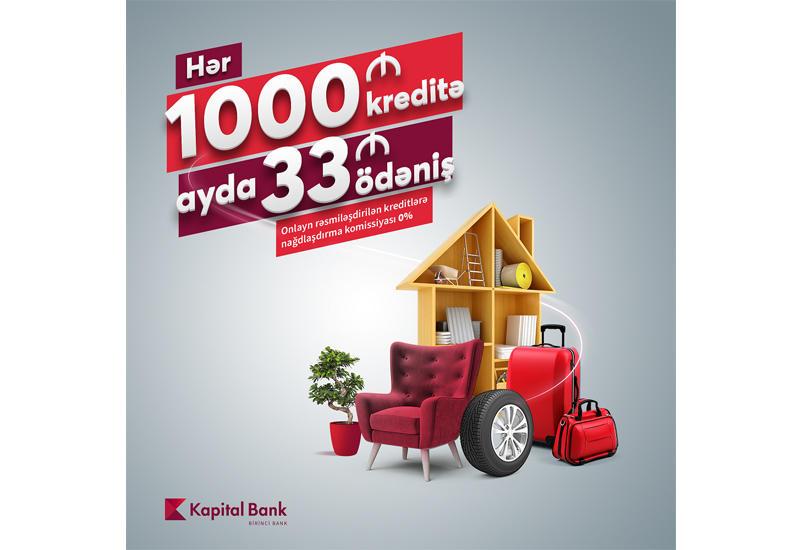 Платите 33 маната в месяц за каждые 1000 манатов кредита!