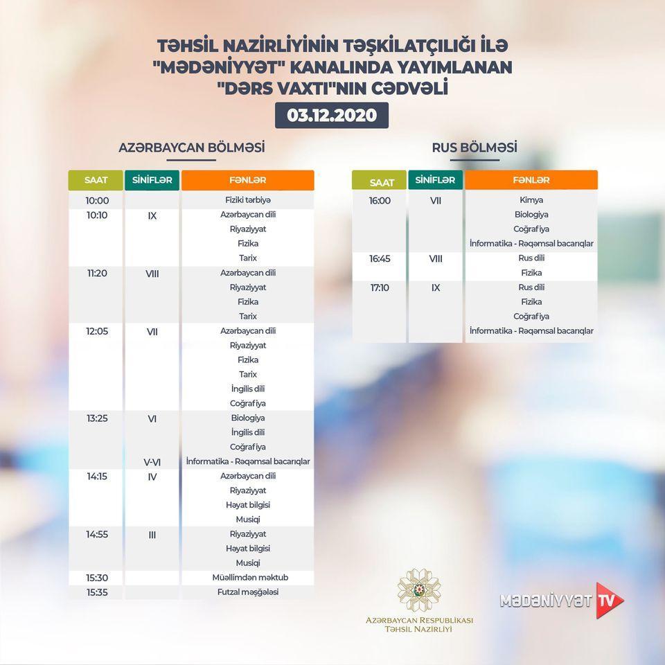 Расписание телеуроков на 3 декабря