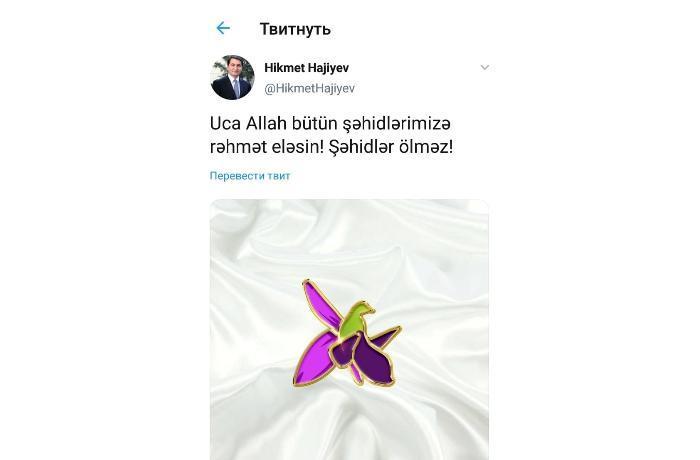 Hikmət Hacıyev şəhidlərdən yazdı