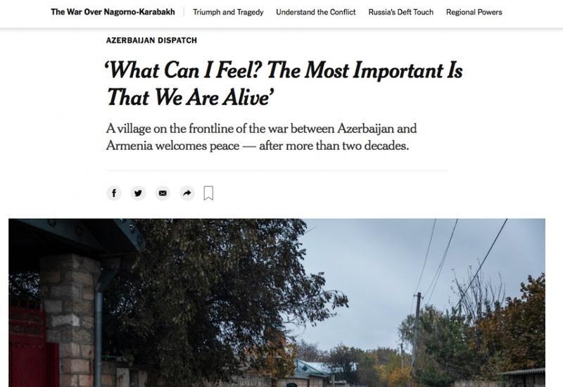 """В """"Нью-Йорк Таймс"""" опубликована статья о селе Чираглы Агдамского района"""