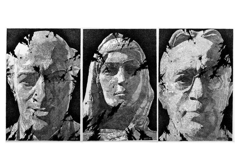 Триптих Арифа Гусейнова - расстрелянные бюсты выдающихся личностей, возвращенные в Шушу
