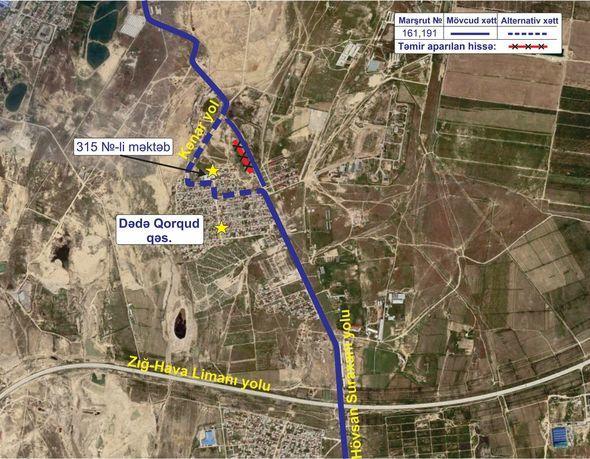 В Баку изменена схема движения двух автобусных маршрутов