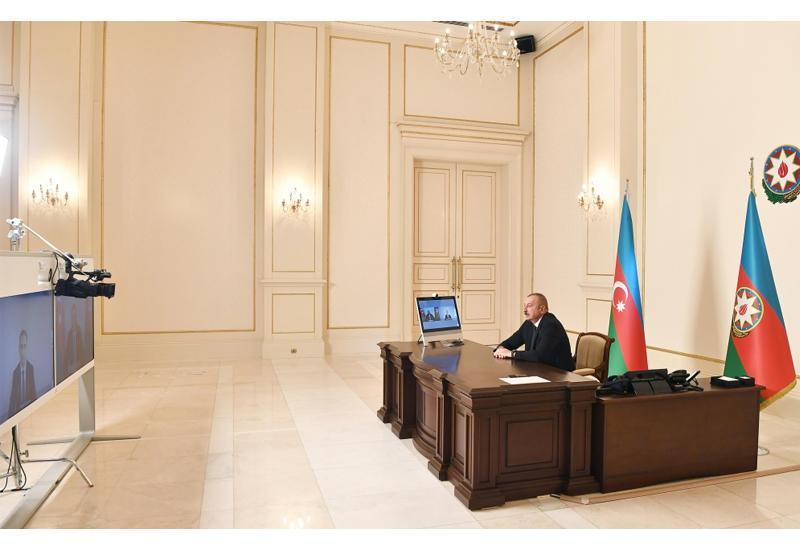 Президент Ильхам Алиев принял в видеоформате Рашада Набиева в связи с назначением на должность министра транспорта, связи и высоких технологий