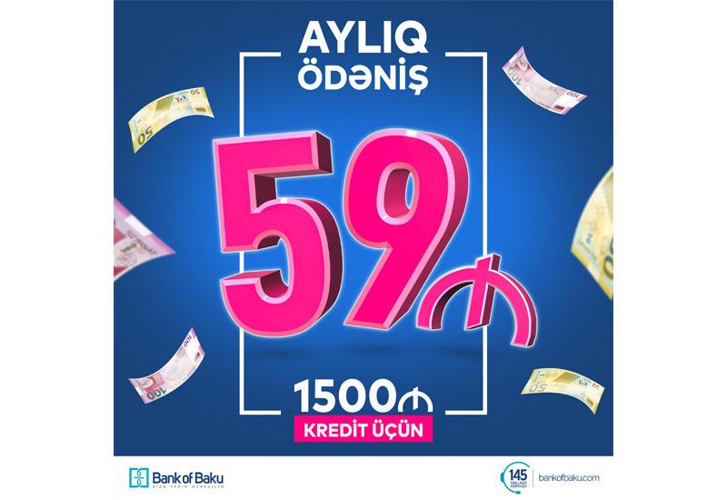 Bank of Baku-dan ayda 59 manat ödənişlə 1500 AZN KREDİT!