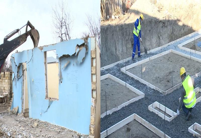 В Физули и Агдаме ликвидируется нанесенный армянами ущерб, строятся новые дома