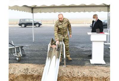 Президент Ильхам Алиев заложил фундамент железнодорожной линии Горадиз-Агбенд в Физули