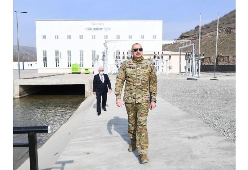 Президент Ильхам Алиев принял участие в открытии Гюлябирдской ГЭС в Лачине
