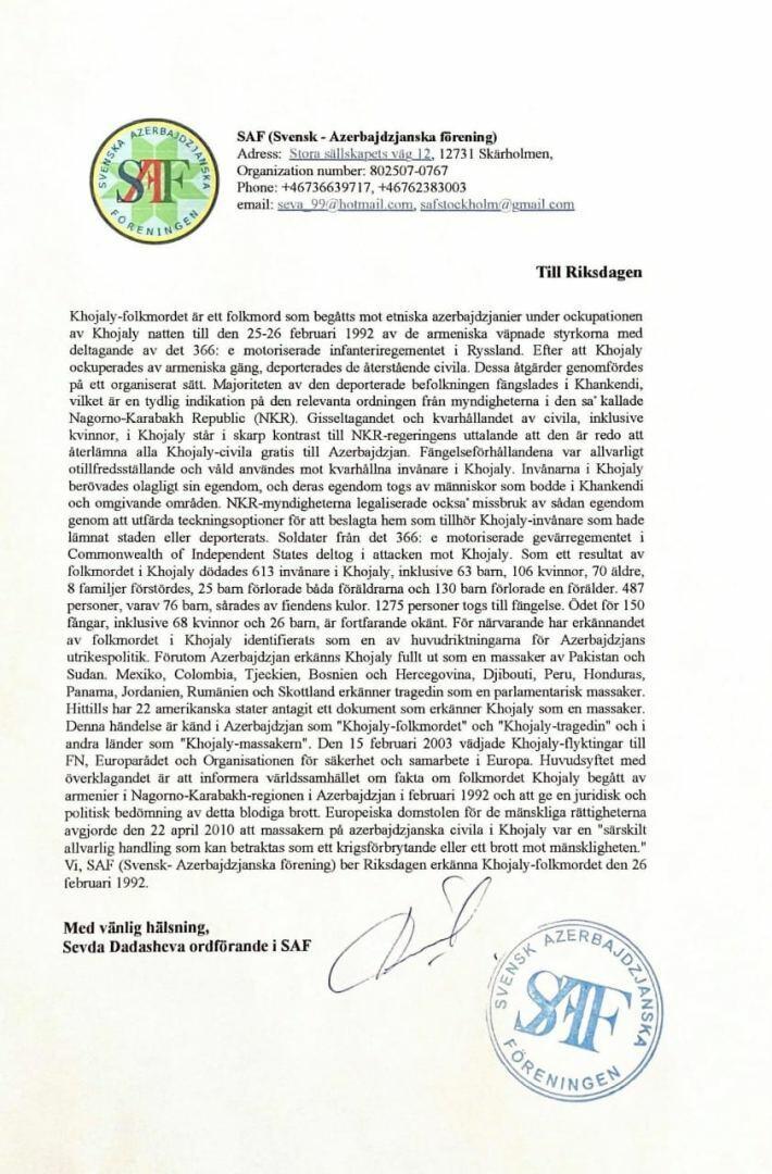 Шведско-азербайджанская ассоциация призвала парламент Швеции признать Ходжалинский геноцид