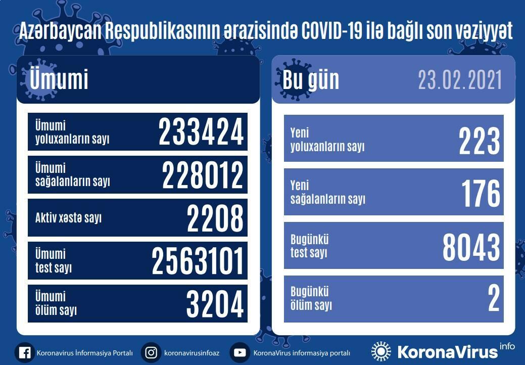В Азербайджане выявлено еще 223 случая заражения коронавирусом,