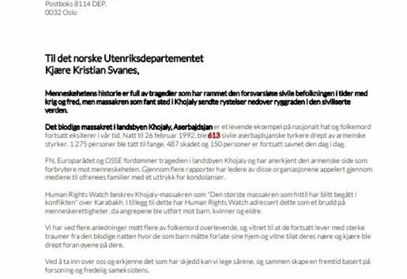 Диаспорская организация призвала правительство Норвегии признать Ходжалинский геноцид