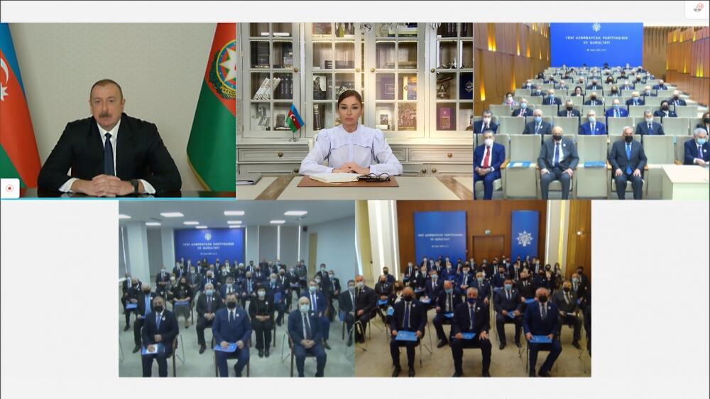 """Президент Ильхам Алиев выступил в видеоформате на внеочередном VII съезде партии """"Ени Азербайджан"""""""