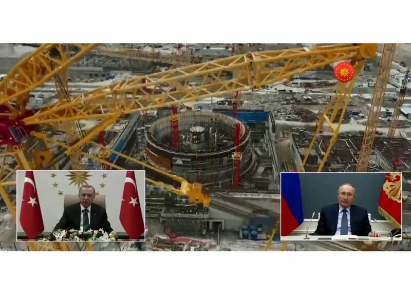 """Эрдоган и Путин принимают участие в церемонии закладки фундамента 3-го реактора АЭС """"Аккую"""""""