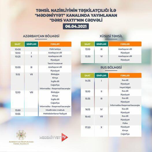 Расписание телеуроков на 6 апреля