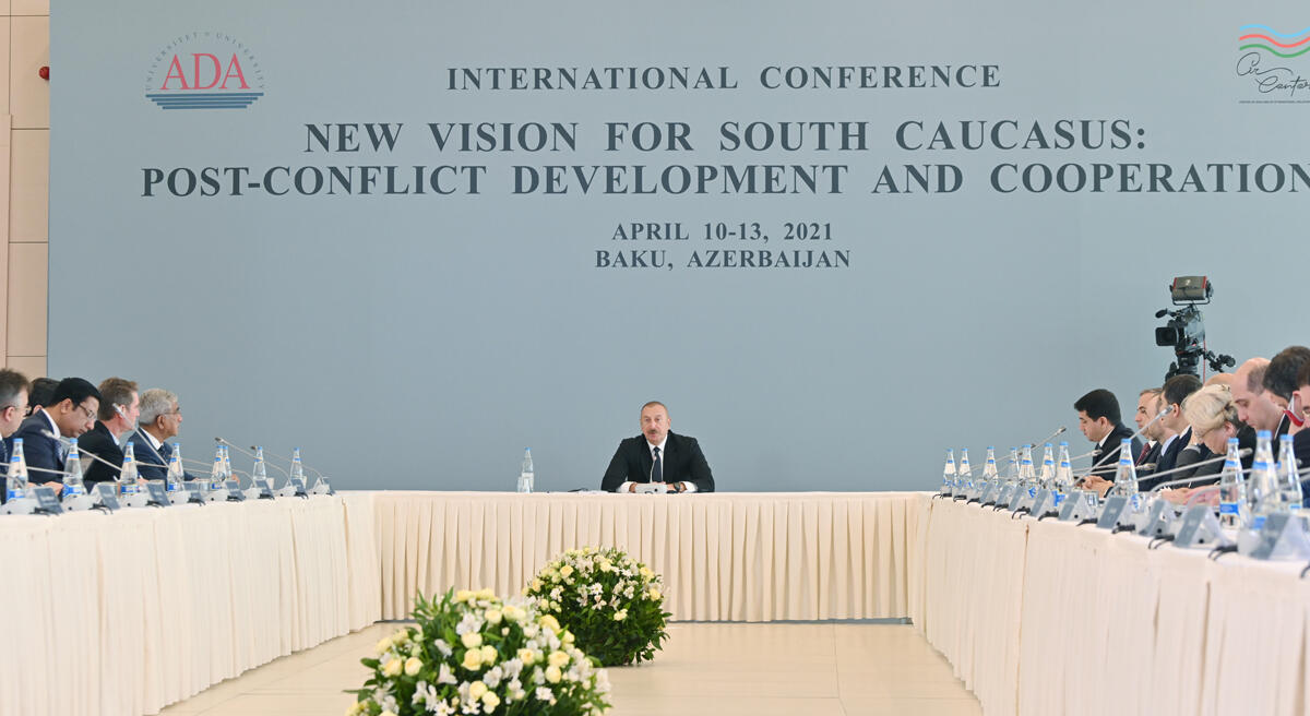 Президент Ильхам Алиев принял участие в проходящей в Университете АДА международной конференции под названием «Новый взгляд на Южный Кавказ: постконфликтное развитие и сотрудничество»
