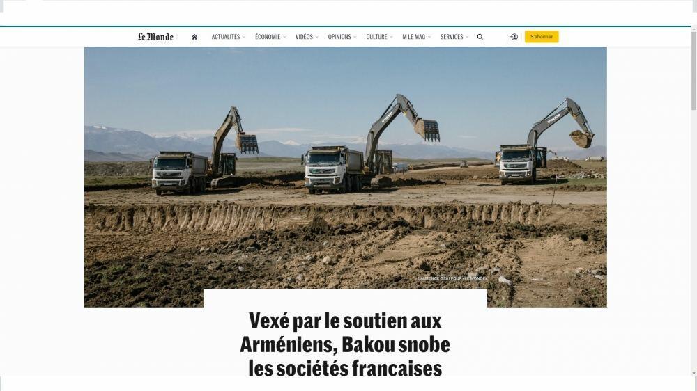 Ведущие французские компании опасаются, что не примут участие в осуществляемых в Карабахе крупных проектах