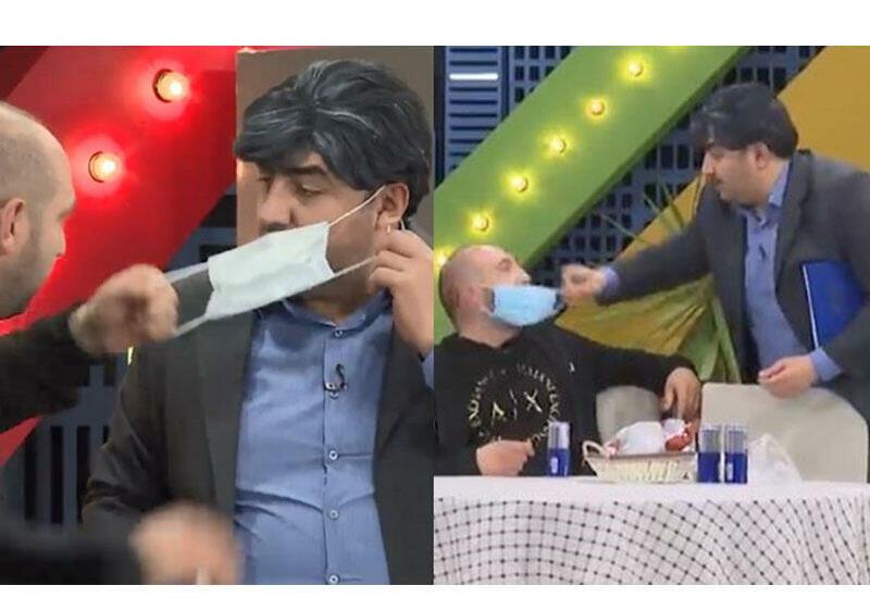 Два актера использовали одну и ту же медицинскую маску в эфире Xəzər TV
