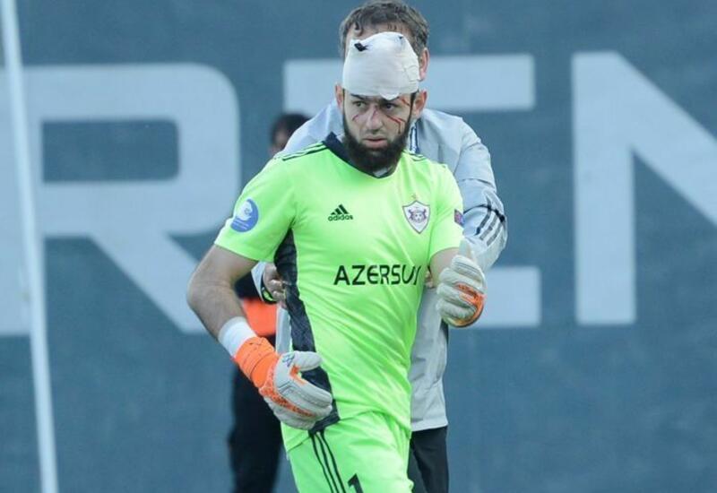 Вратарь «Карабаха», которому наложили 25 швов на голову, возвращается на поле
