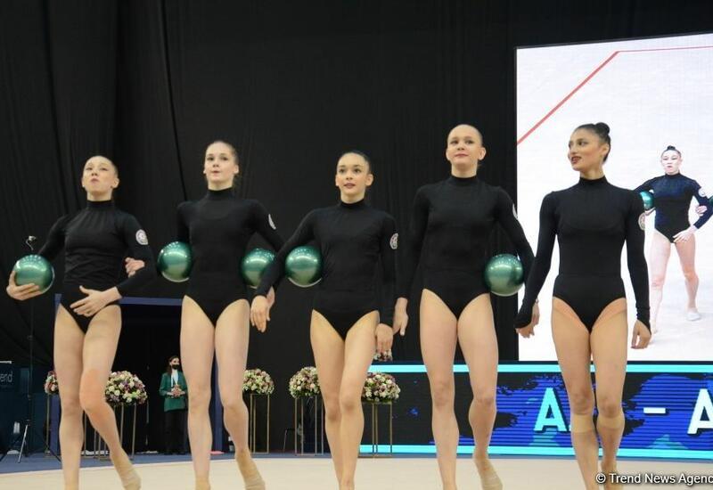 Команда Азербайджана в групповых упражнениях вышла в финал Кубка мира в Баку в программе с пятью мячами