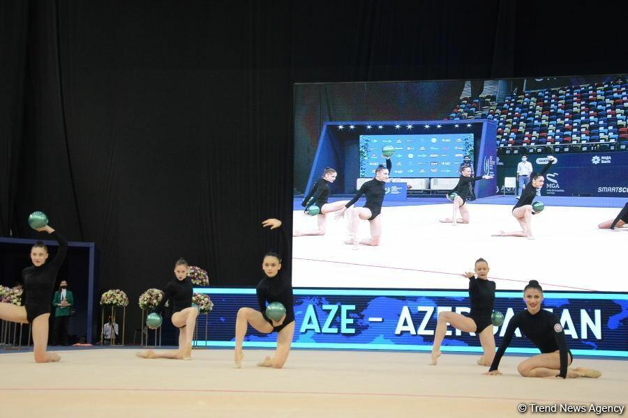 На Национальной арене гимнастики прошли выступления групповых команд в рамках Кубка мира в Баку