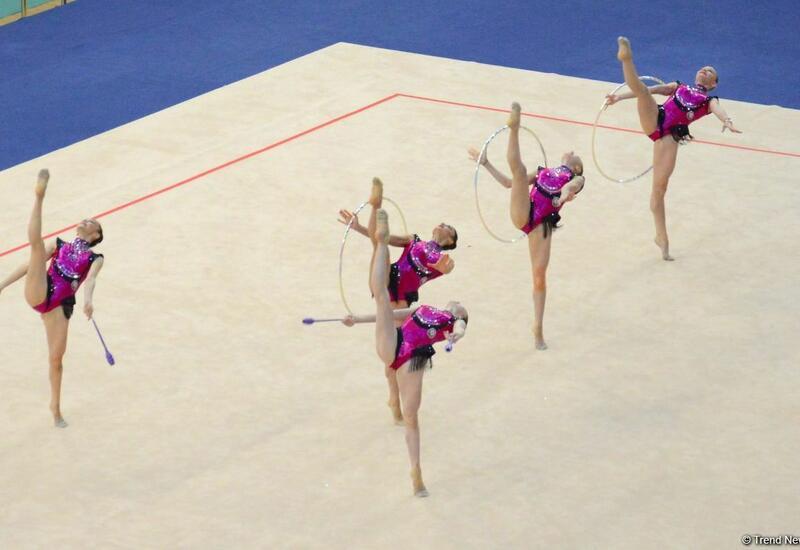 Команда Азербайджана в групповых упражнениях прошла в финал Кубка мира в Баку в программе с тремя обручами и двумя парами булав
