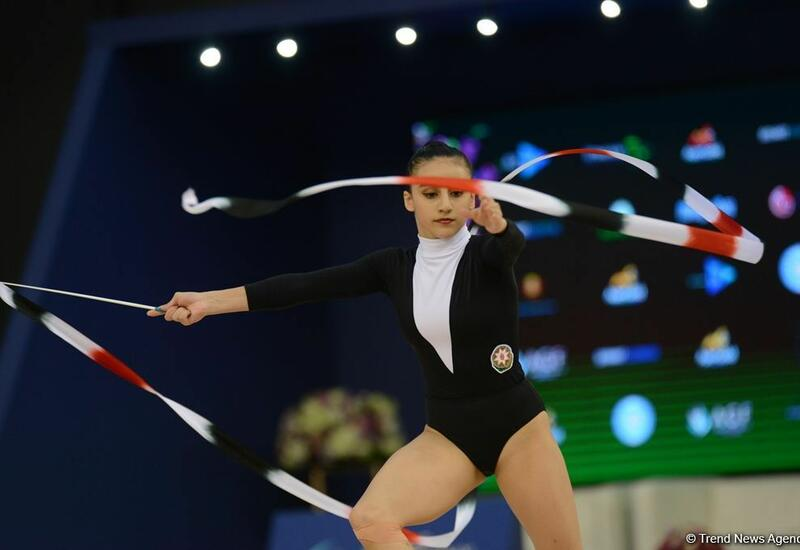 Азербайджанская гимнастка Зохра Агамирова вышла в финал Кубка мира в Баку в упражнении с лентой