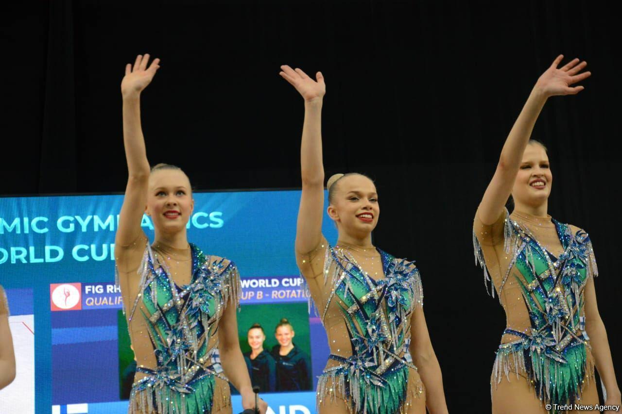 В Национальной арене гимнастики в Баку проходят соревнования групповых команд в рамках Кубка мира