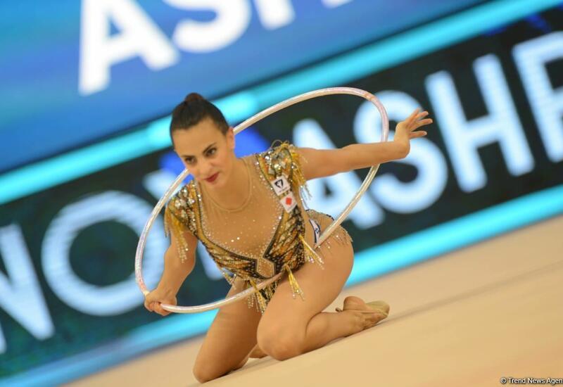 Золотую медаль Кубка мира в Баку в упражнении с обручем завоевала израильская гимнастка Линой Ашрам