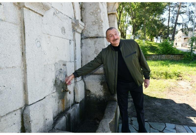 Президент Ильхам Алиев побывал на восстановленном роднике «Хан гызы» в Шуше